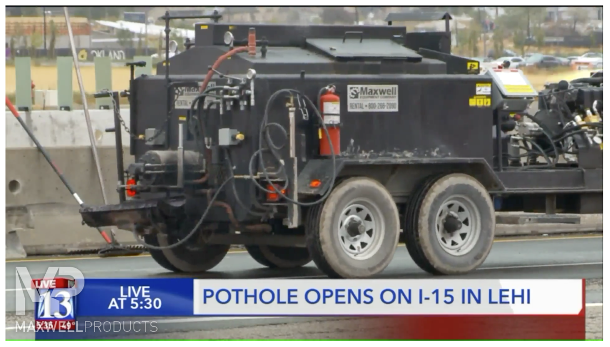 Ames Construction fixes a pothole on I-15 with a Maxwell Equipment mastic melter and Helix Flow Controller
